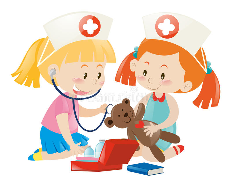Jonge geitjes die verpleegster met pop spelen royalty-vrije illustratie