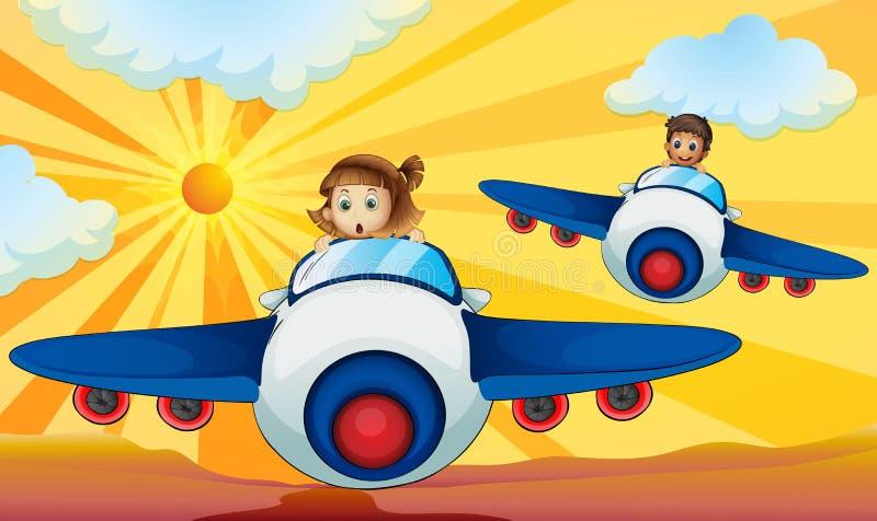 Jonge geitjes die vliegtuig drijven royalty-vrije illustratie