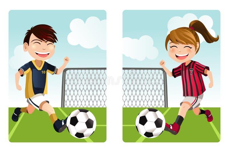 Jonge geitjes die voetbal spelen vector illustratie