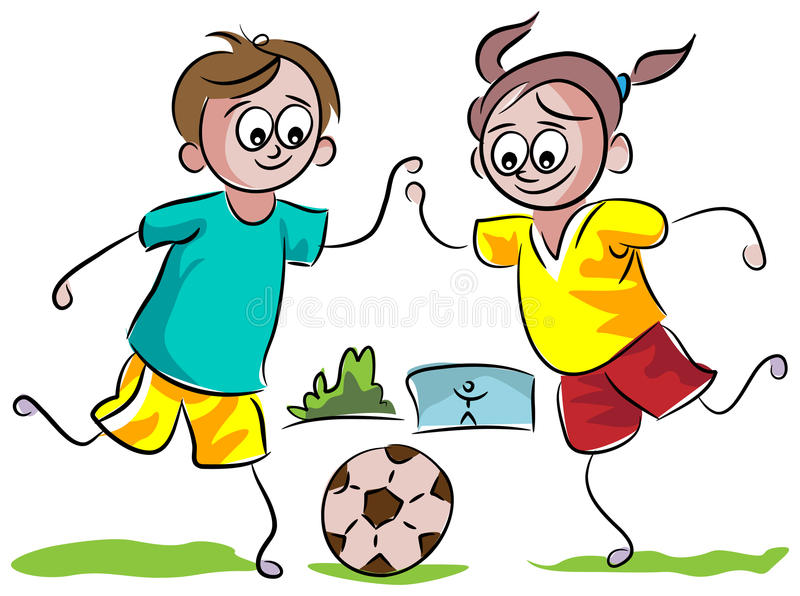 Jonge geitjes die voetbal spelen stock illustratie