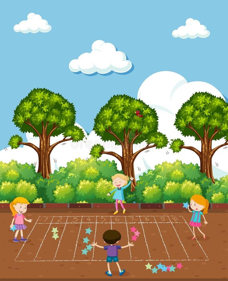Jonge geitjes die Wiskunde doen bij Speelplaats vector illustratie