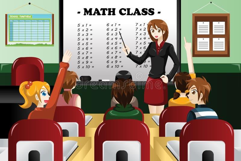 Jonge geitjes die wiskunde in het klaslokaal bestuderen stock illustratie