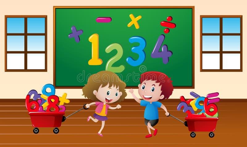 Jonge geitjes die wiskunde in klaslokaal leren vector illustratie