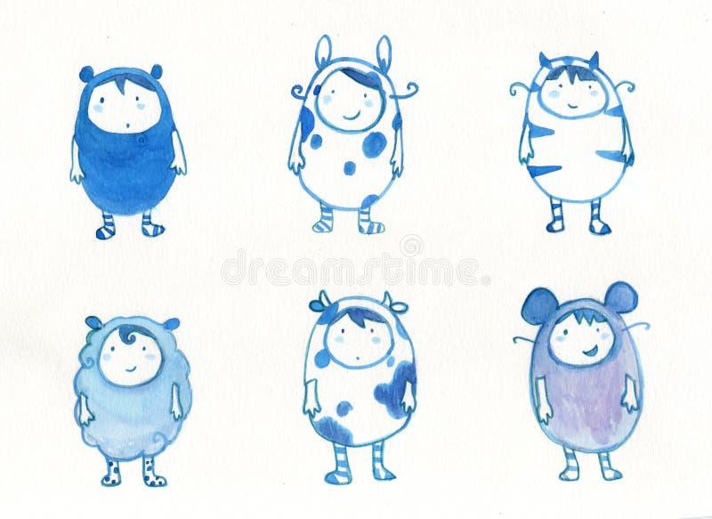 Jonge geitjes in dierlijk kostuum stock illustratie