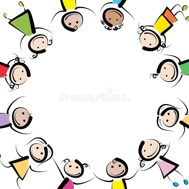 Jonge geitjes in een cirkel stock illustratie