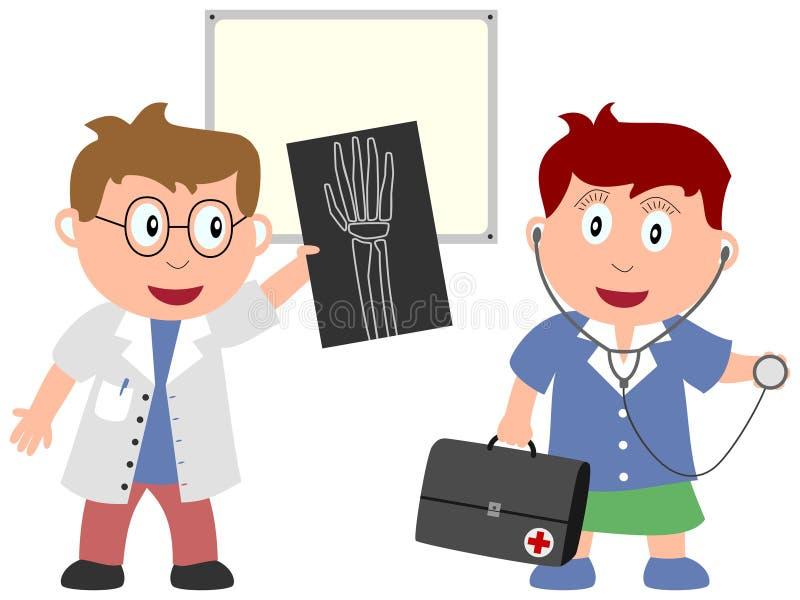 Jonge geitjes en Banen - Geneeskunde [3] stock illustratie