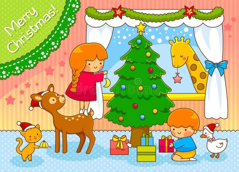 Jonge geitjes en dieren die Kerstmis vieren royalty-vrije illustratie