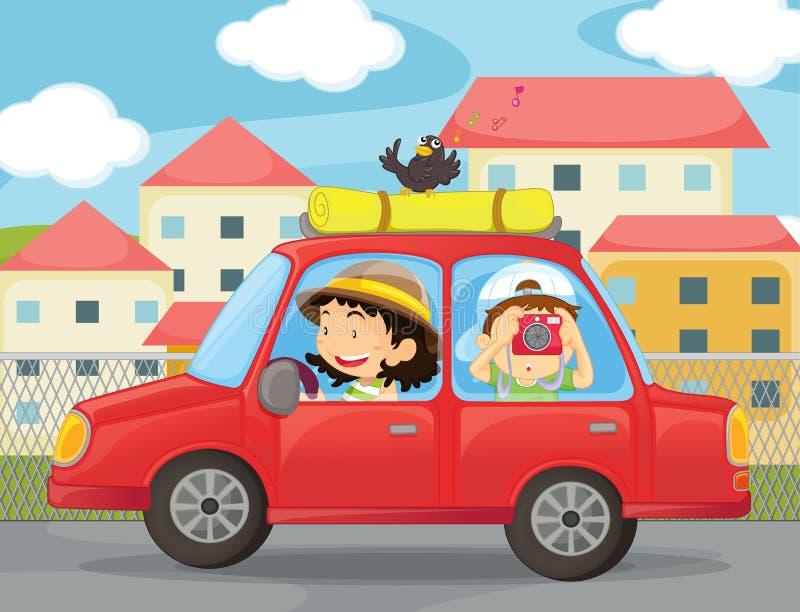 Jonge geitjes en een auto royalty-vrije illustratie
