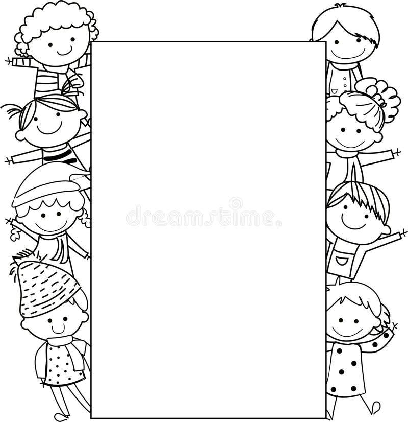 Jonge geitjes en frame royalty-vrije illustratie