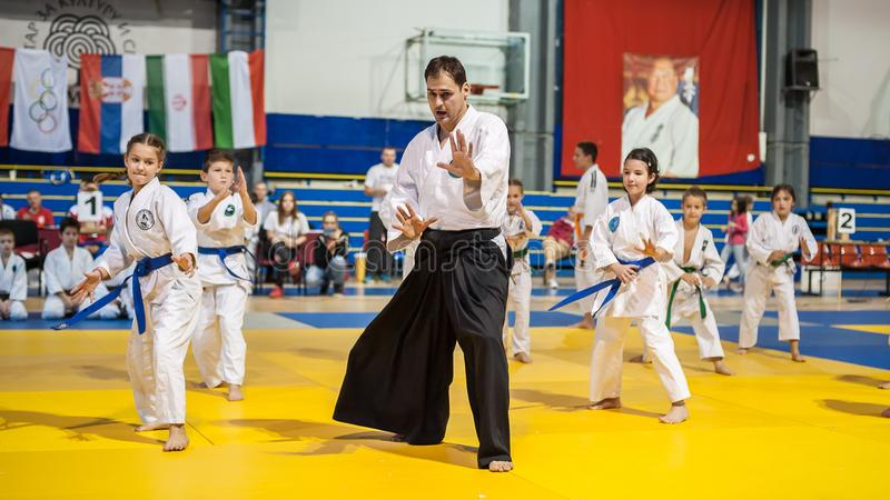 Jonge geitjes en Kinderen de Demonstratie van de Vechtsportensport Kyokushin is royalty-vrije stock fotografie