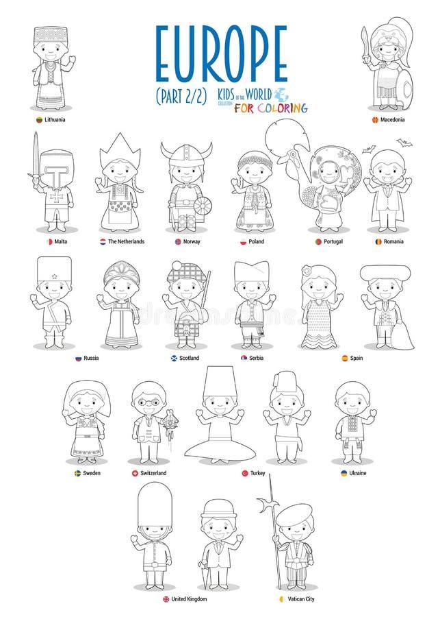 Jonge geitjes en nationaliteiten van de wereldvector: Reeks 2 van Europa van 2 Reeks van 22 karakters voor kleuring gekleed in na vector illustratie