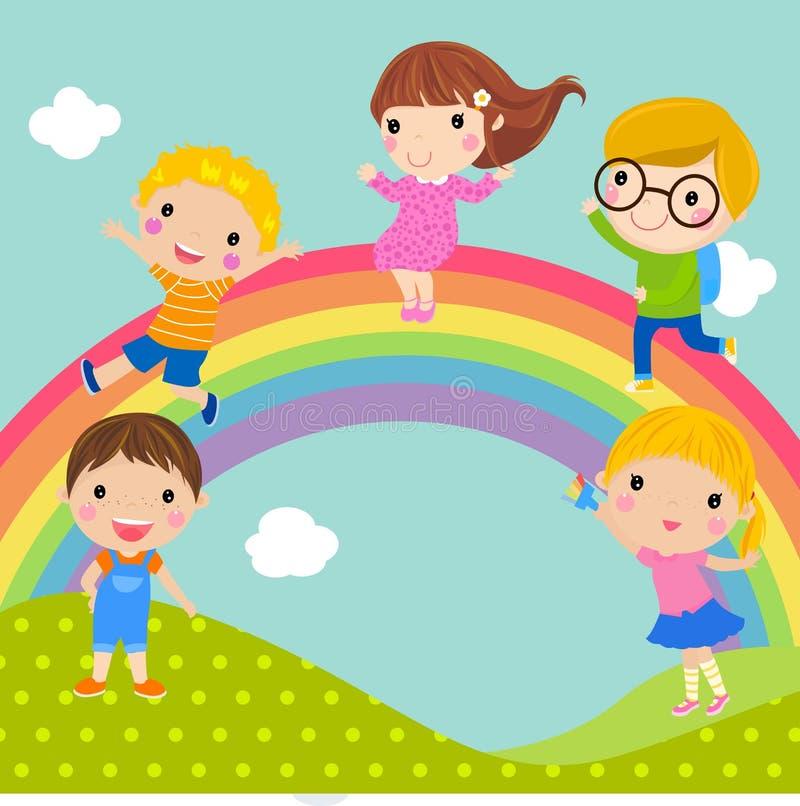 Jonge geitjes en regenboog stock illustratie