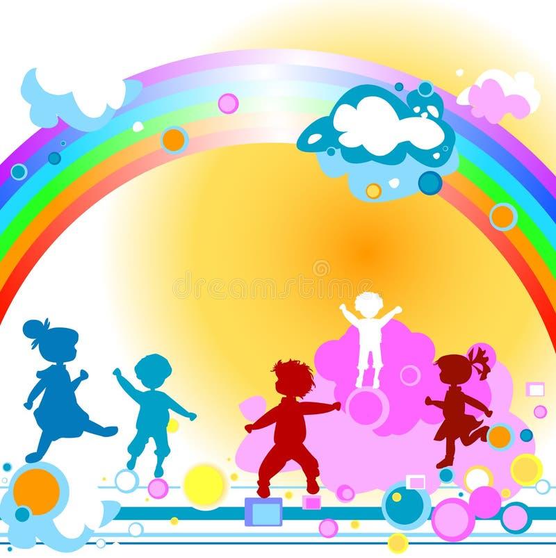 Jonge geitjes en regenboog vector illustratie