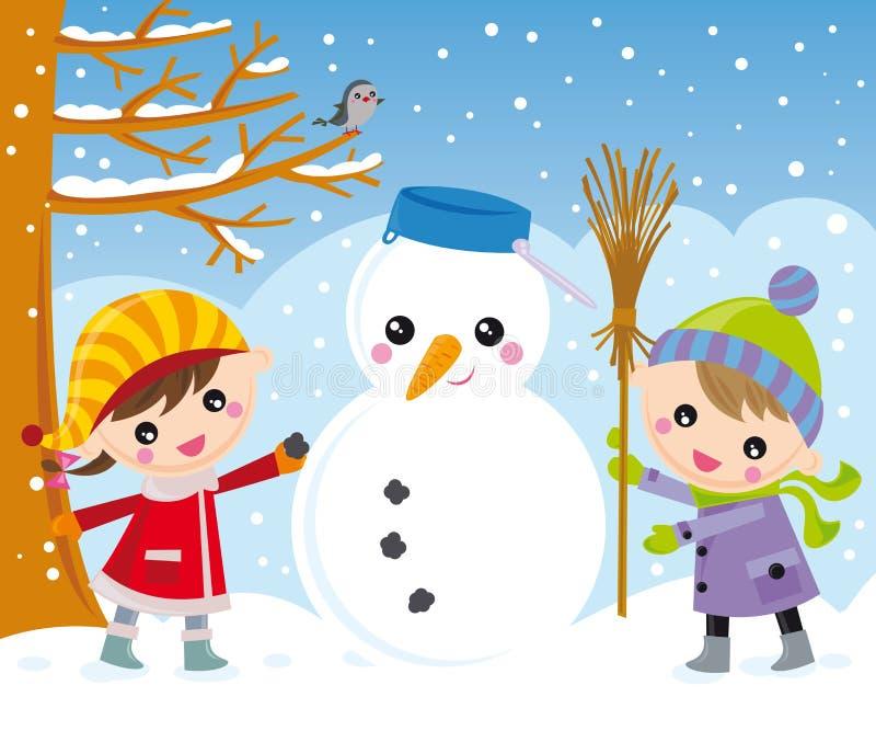 Jonge geitjes en sneeuwman stock illustratie
