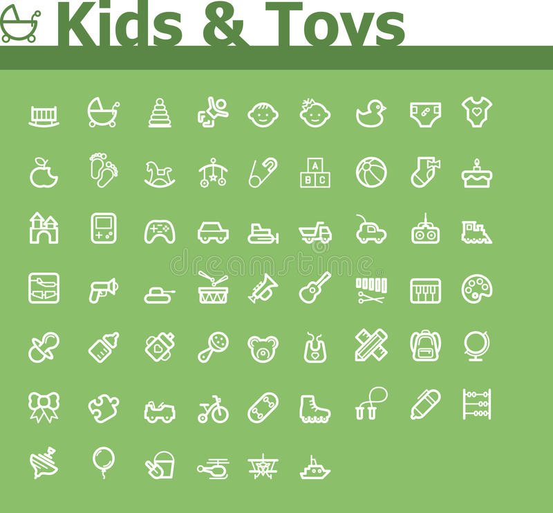 Jonge geitjes en speelgoedpictogramreeks vector illustratie