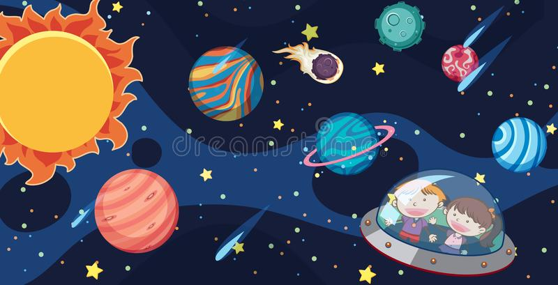 Jonge geitjes en UFO in de Melkweg vector illustratie