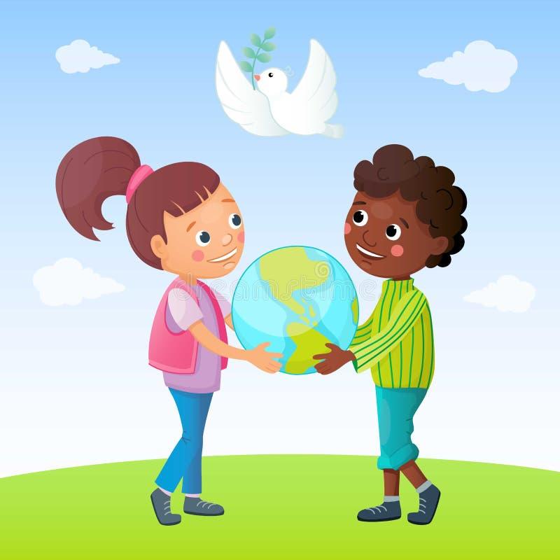 Jonge geitjes en vredesconcept De witte duif met groene bladeren vliegt in de hemel De jongen en het meisje houden aardebol vector illustratie