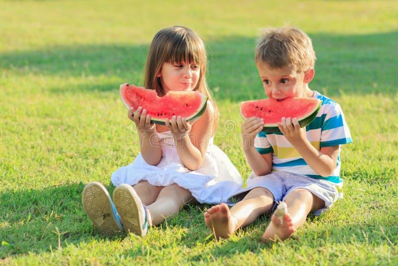 Jonge geitjes en watermeloen royalty-vrije stock foto's