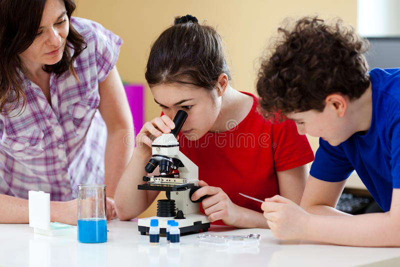 Jonge geitjes gebruikend microscoop royalty-vrije stock afbeelding