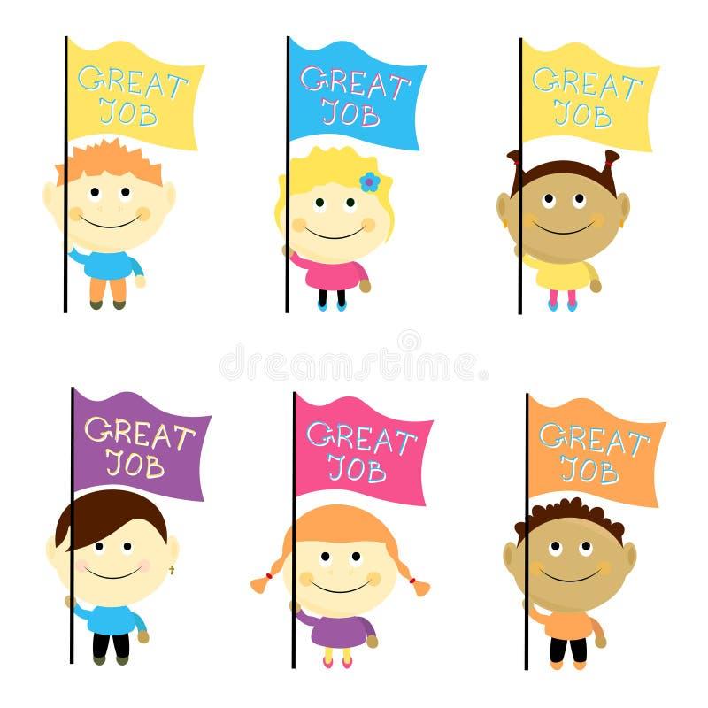 Jonge geitjes geplaatst vectorillustratie Kinderen die omhoog met glimlach kijken stock foto's