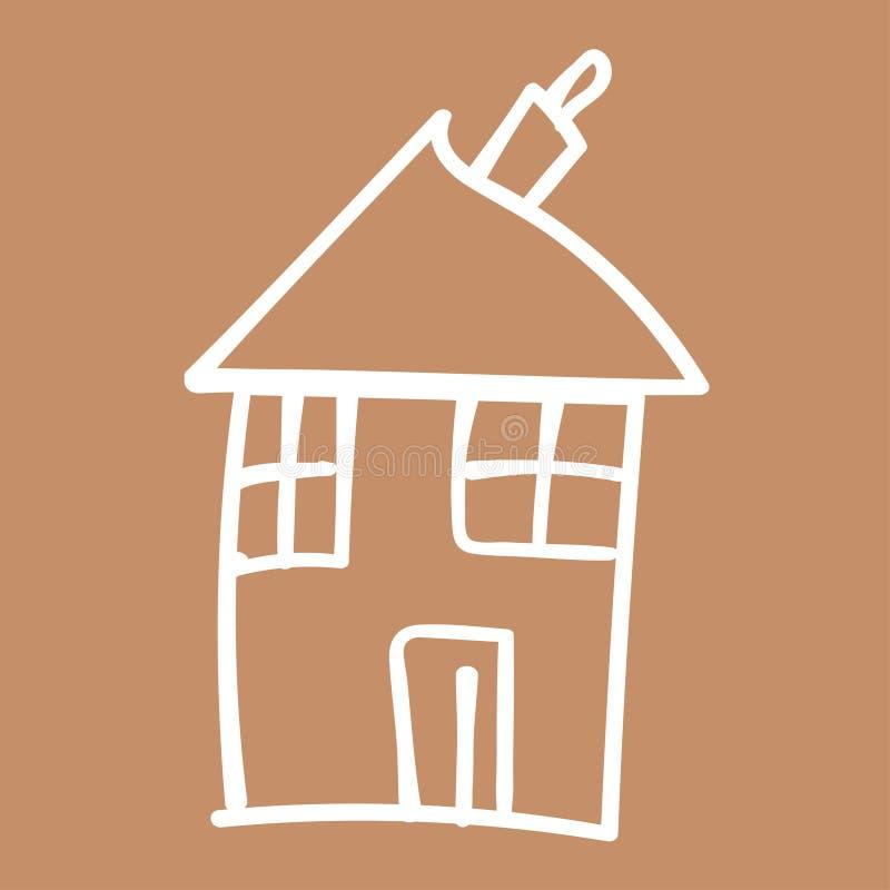 Jonge geitjes geschilderde huizen in krabbelstijl stock illustratie