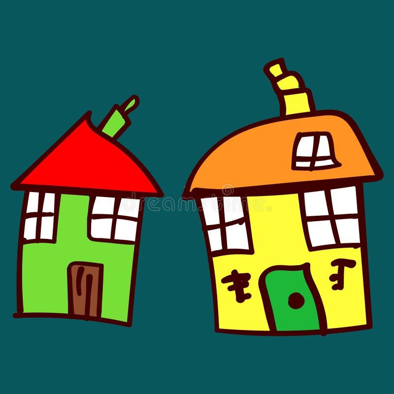 Jonge geitjes geschilderde huizen in krabbelstijl vector illustratie