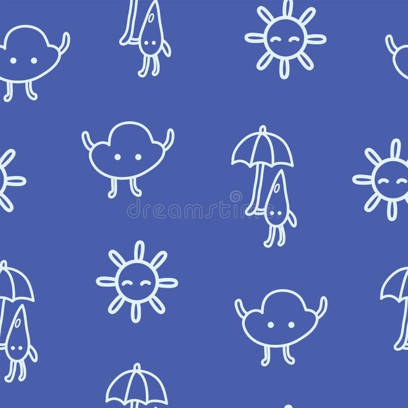 Jonge geitjes getrokken weer naadloos patroon met zon, wolk en regendruppel royalty-vrije illustratie