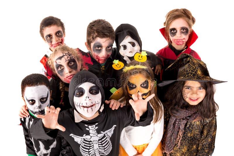 Jonge geitjes in Halloween stock fotografie