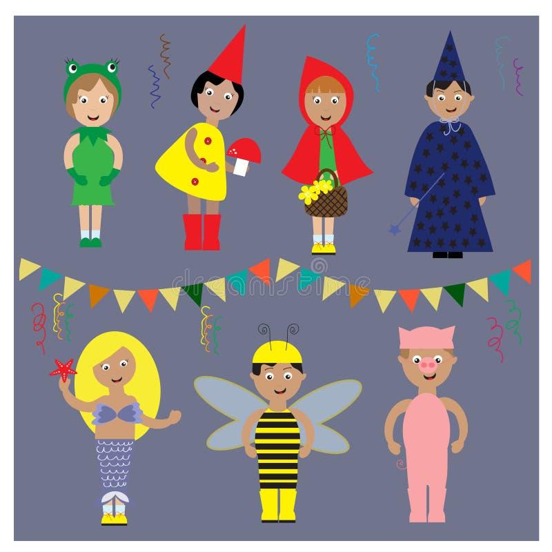 Jonge geitjes Halloween of het kostuum van de Kerstmispartij royalty-vrije illustratie