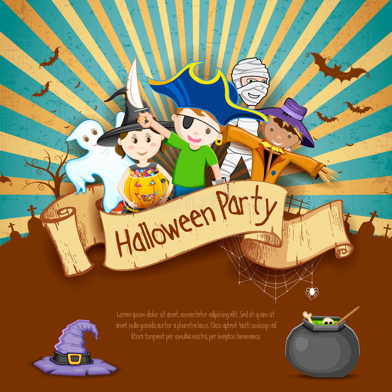 Jonge geitjes in Halloween-Partij stock illustratie