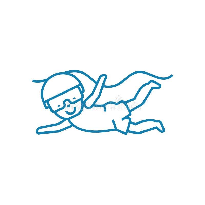 Jonge geitjes het duiken lineair pictogramconcept Jonge geitjes het duiken lijn vectorteken, symbool, illustratie royalty-vrije illustratie