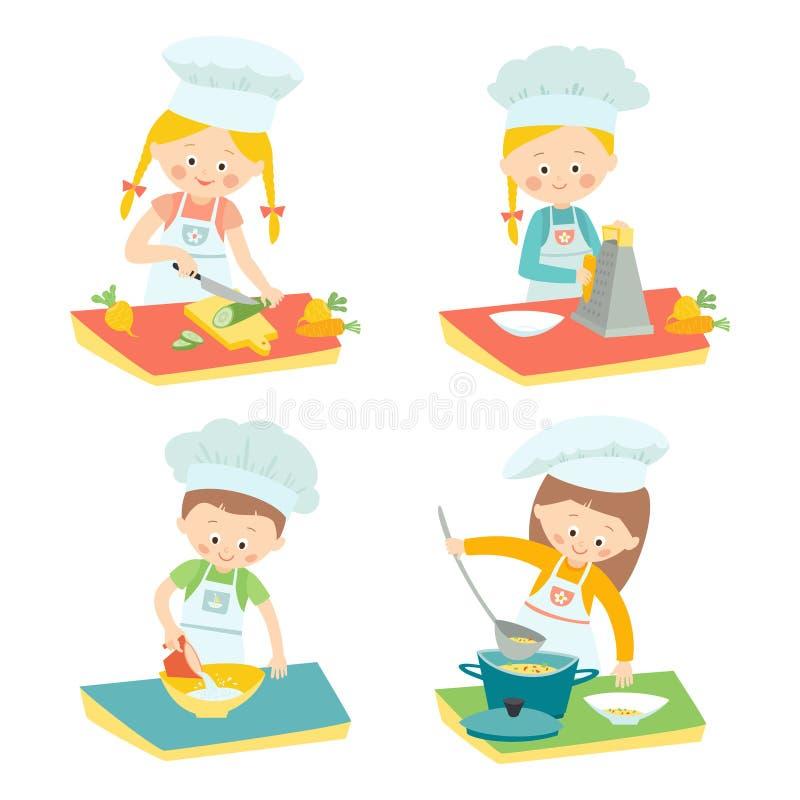 Jonge geitjes het koken Kinderen op een culinaire klasse Kleine Chef-koks De vectorhand getrokken eps 10 geïsoleerde illustratie  royalty-vrije illustratie
