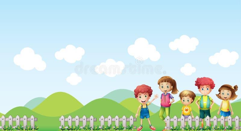 Jonge geitjes in het landbouwbedrijf royalty-vrije illustratie