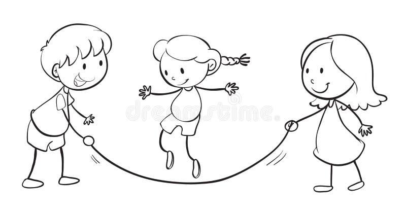 Jonge geitjes het spelen royalty-vrije illustratie
