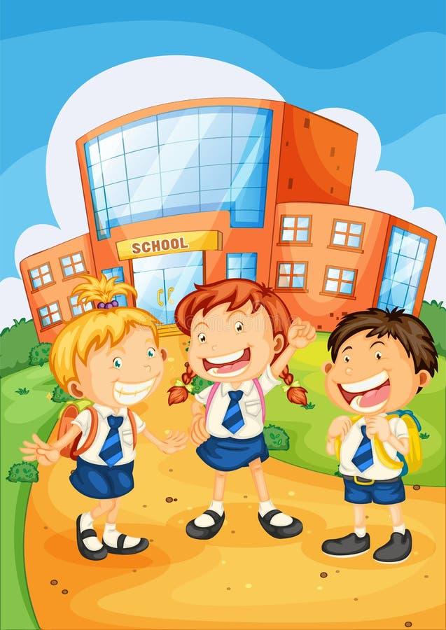 Jonge geitjes infront van de schoolbouw vector illustratie