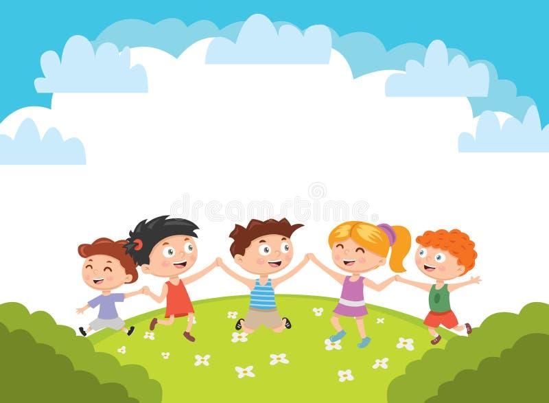 Jonge geitjes Jongens en meisjesspelen en sprong op een helder gazon Vector illustratie vector illustratie