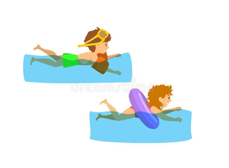 Jonge geitjes, kinderen, jongen en meisje die in pool zwemmen stock illustratie