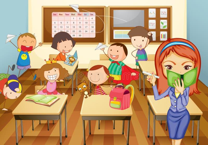 Jonge geitjes in klaslokaal stock illustratie