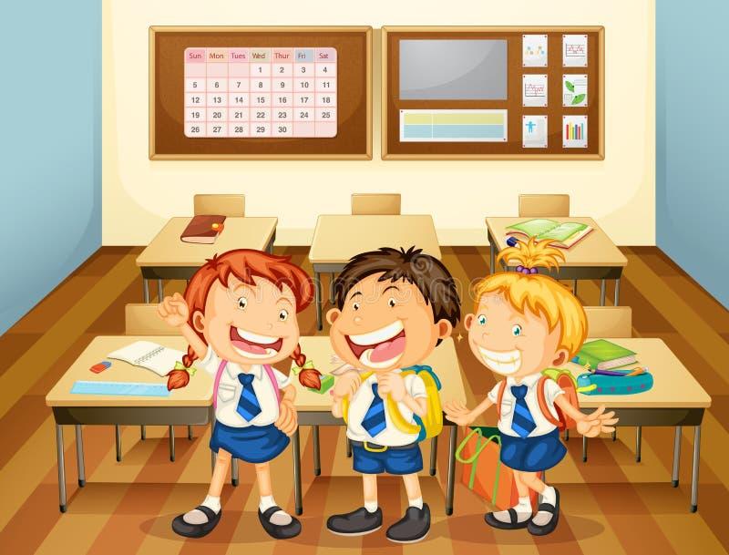 Jonge geitjes in klaslokaal vector illustratie