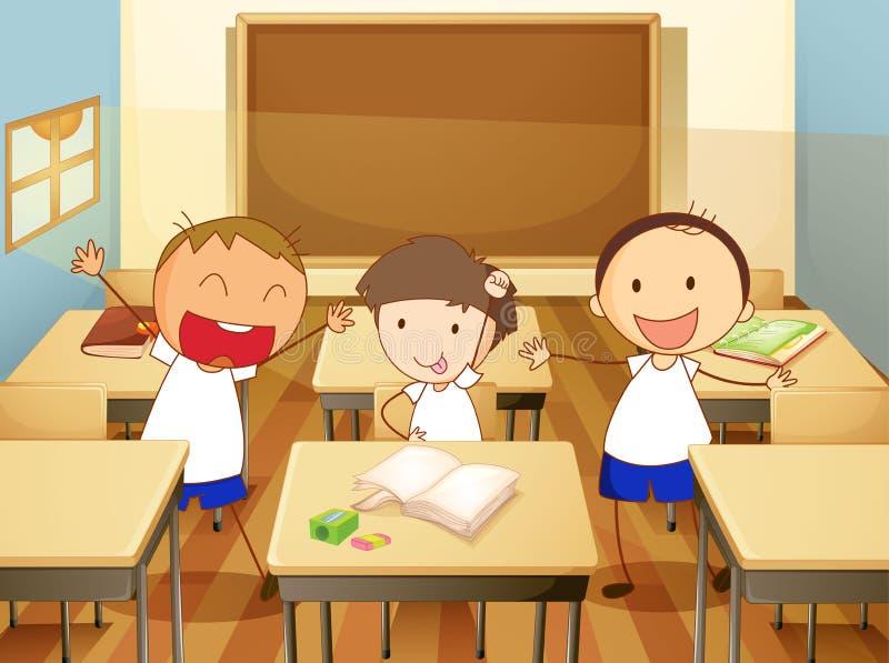 Jonge geitjes in klaslokaal royalty-vrije illustratie