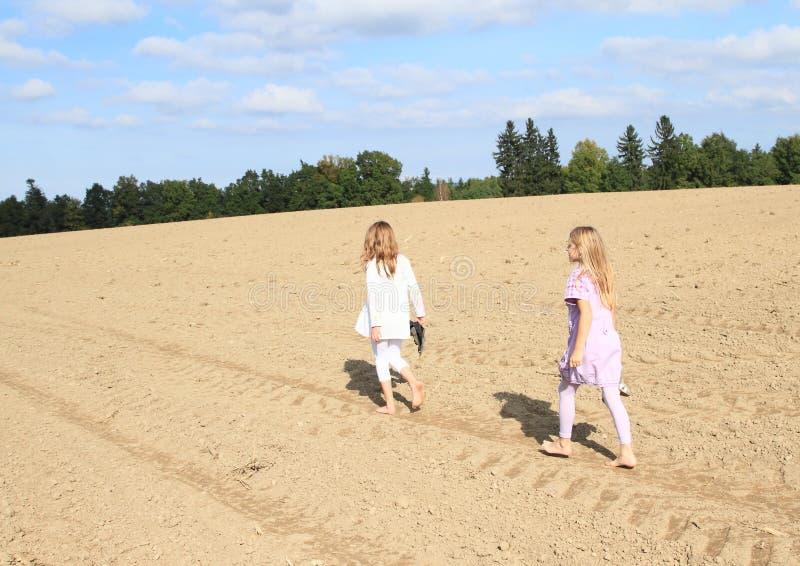 Jonge geitjes - meisjes die op gebied lopen royalty-vrije stock afbeelding