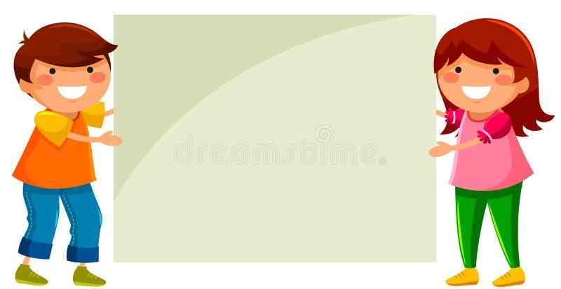 Jonge geitjes met aanplakbiljet stock illustratie
