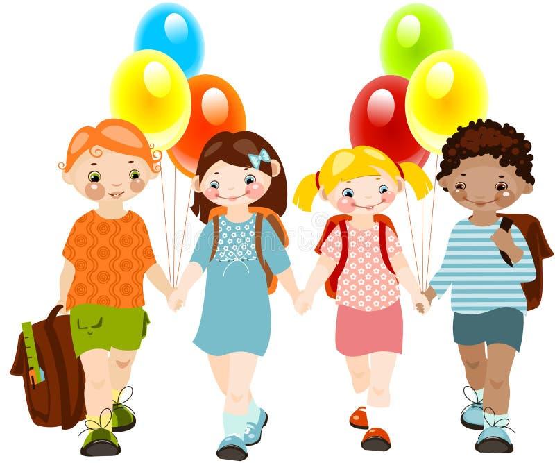 jonge geitjes met ballons. school kinderjaren. royalty-vrije illustratie