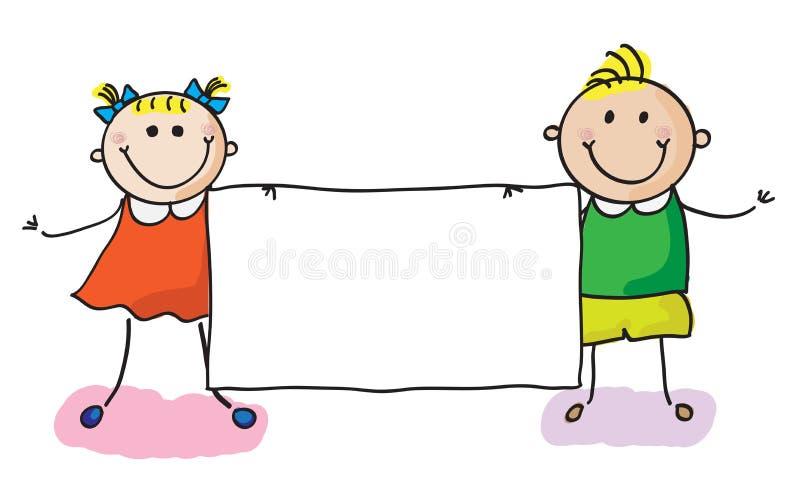 Jonge geitjes met banner royalty-vrije illustratie