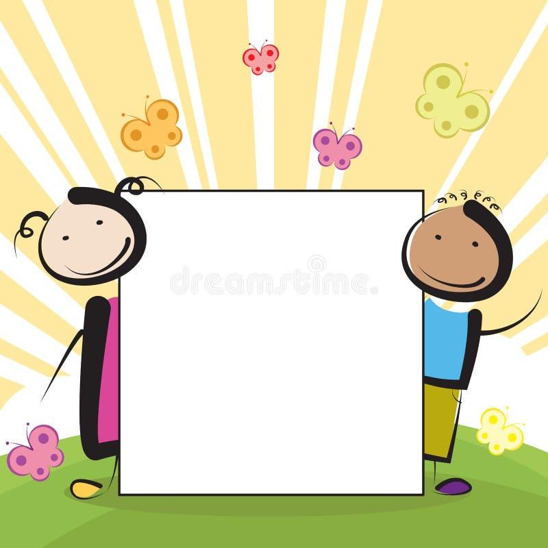 Jonge geitjes met banner stock illustratie