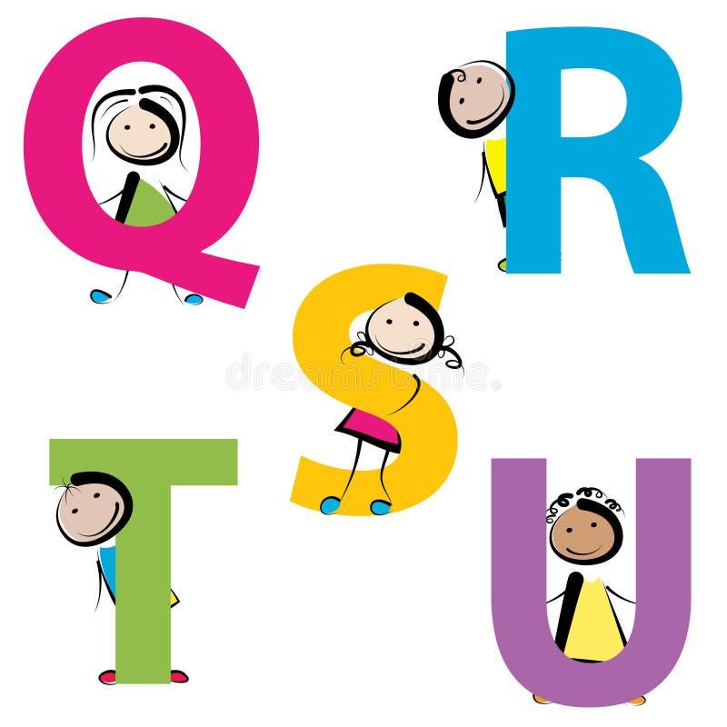 Jonge geitjes met brieven q-u royalty-vrije illustratie
