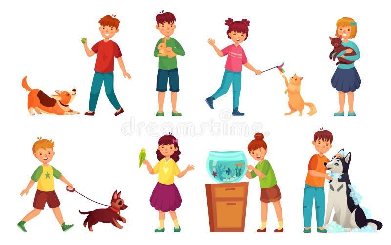 Jonge geitjes met huisdieren Het huisdier van de jong geitjeomhelzing, de dieren van de kindliefde en het spelen met hond of leuk vector illustratie