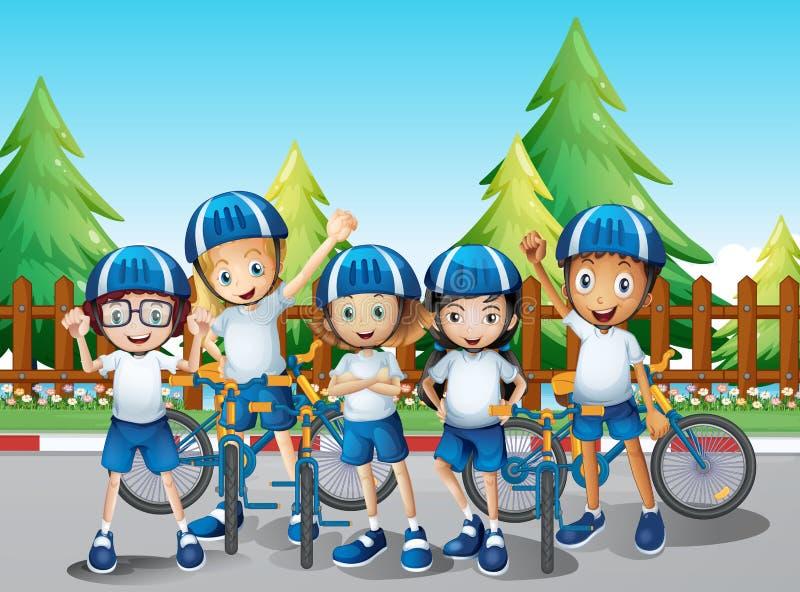 Jonge geitjes met hun fiets op de weg vector illustratie