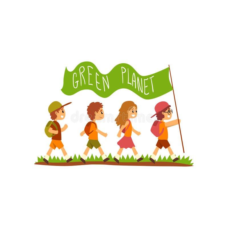 Jonge geitjes met rugzakken die vlag met de inschrijvings Groene Planeet dragen, sparen de planeet, de vector van het ecologiecon stock illustratie