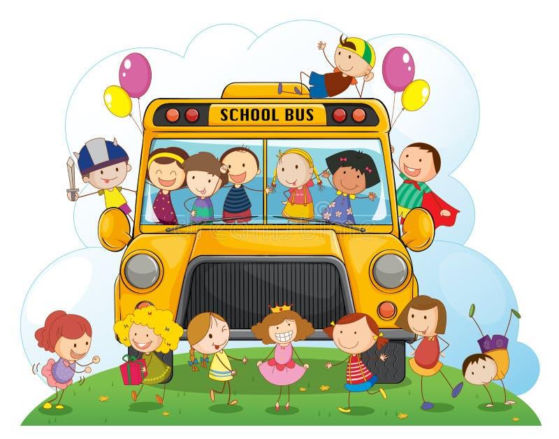 Jonge geitjes met schoolbus vector illustratie